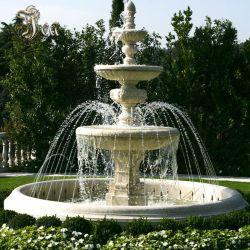 Sculpté à la main trois couches de la fontaine de marbre blanc
