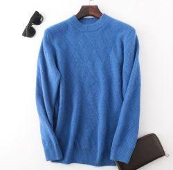 남성용 패션 캐시미어 7 게이지 2 - 플라이 원사를 사용하여 둥근 목 풀오버를 만듭니다 스웨터