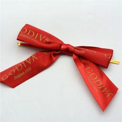 Ruban de Noël le filtre Bow Tie fleurs 6/8 pouce Logo personnalisé ruban coloré de l'impression du logo de fleurs en polyester pour l'Emballage de cadeau /Garment