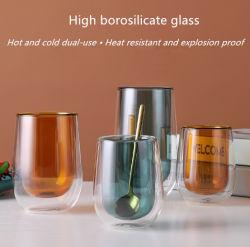 لوّثت مزدوجة فنجان [كفّ كب] فنجان مستديرة زجاجيّة فنجان حرارة - مقاومة زهرة [تا كب] [تا كب] شفّافة [هت ينسولأيشن] لبن فنجان