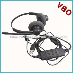 Cuffia avricolare biauricolare del USB di alta qualità per il telefono di VoIP