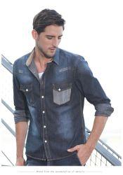 Mais barato de fábrica fabricante OEM logotipo personalizado Jeans Camisas de bolso