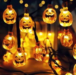 LED de 30 Diseño de Calabaza Horror el Faro de luz de la cadena Solar de decoración para Halloween
