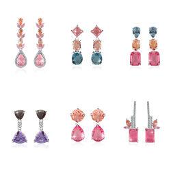 Ювелирные изделия драгоценными камнями 925 стерлингов серебристый цвет серьги с CZ