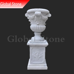 Mármore branco garden stone pote da plantadeira (SPG-209)