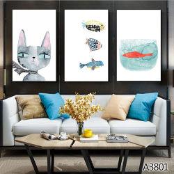 Pitture su ordinazione gatto dell'hotel e pitture di disegno dei pesci
