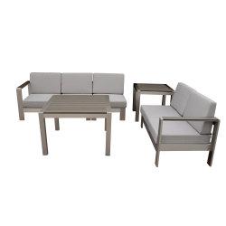 De buena calidad moderno mobiliario de jardín patio al aire libre combinación diferente sofá mesa de café de madera y plástico en la parte superior sofá