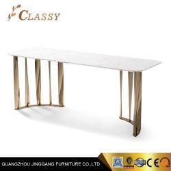 Tischfuß aus mattschwarztem, dunklem Edelstahl mit Marmorplatte Für Esszimmer Möbel