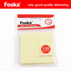 Foska Venta caliente 75GSM Offset amarillo Self-Stick notas