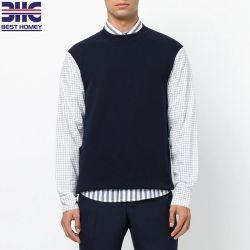 La maglietta felpata casuale del bordo diritto del collo di squadra delle lane del Mens con contrasto ha controllato il maglione lavorato a maglia manicotti