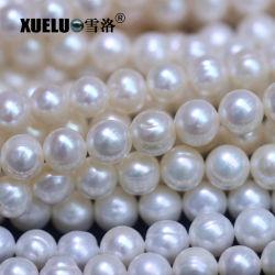 8-9mm lumière Le phoque annelé ronde Perles d'eau douce bon marché naturel de qualité Ab véritable perle perles en vrac (XL180098)