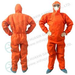 フードが付いているオレンジSMSの使い捨て可能な保護つなぎ服