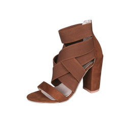 La fasciatura aperta della punta di stirata dei sandali delle donne del tallone con elastico della pompa 11.5cm Chunkly calza i pattini di vestito dal partito della fascia elastica Esg 13579