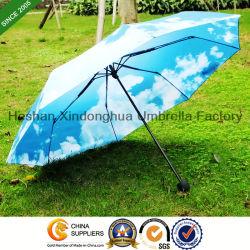 De Overdracht die van de hitte de Blauwe Luxe Vouwende Paraplu van de Hemel afdrukt (fu-3821SKY)