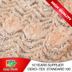 Venda por grosso para todos os tipos de Design de Moda Boa qualidade de Mulheres Home curativo têxteis decoração de casamento vestido Chiffon 3D Flower com lantejoulas bordados