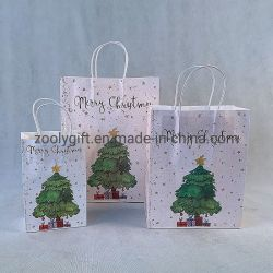 Top Grade Christmas Paper Bag Customize Logo Kerstmis Gift Paper Zakken met papierhandgreep