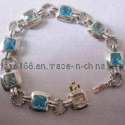 925銀製の青いトパーズのルネサンスのブレスレット(SSB-019)