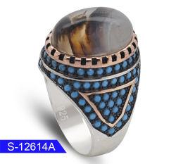 Venda por grosso de design mais recentes de jóias de prata Anel de Pedra Ágata Natural para homens