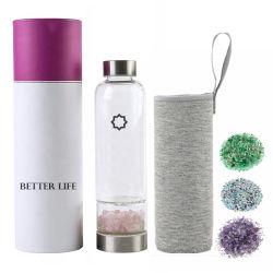 Индивидуальные естественные точки боросиликатного стекла бутылка воды закрывается Quartz исцеления напиток