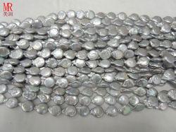 Серый цвет барокко Keshi Pearl валики жилы (ES316)