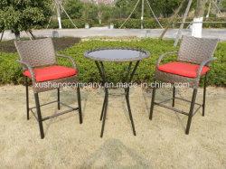 3 pcs de barre en aluminium Paito Set de table de jardin Meubles en rotin