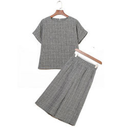Damen Fashion Hose Mit Weitem Bein und Kurzen Ärmeln Hemden