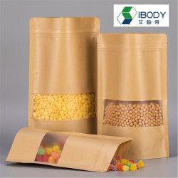 Resistente a la Grasa Ziplock sellable desechables, alimentos secos Paquete Bolsa con soporte de papel satinado y mate de la ventana
