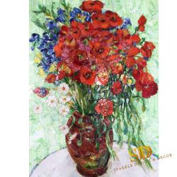 Disegni variopinti chiari del mosaico della parete dei fiori rossi dei papaveri del Vincent Van Gogh murali per la stanza da bagno