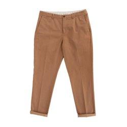 Fábrica de algodão de qualidade elevada dos homens longo trecho de base Skinny Chino Roll Hem Pants