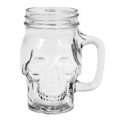 12 Oz con forma de cráneo Mason Jar tazas de plástico con tapa y el estaño de paja - Frío Vasos