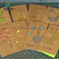 Papier kraft brun personnalisé Whoelsale Wedding Invitation de l'échantillon de cartes papier
