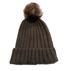 Hoed Beanie GLB van de Manier van de Winter van vrouwen de Acryl Geribbelde Breiende Warme met Faux Bont Pompom