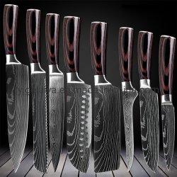 8 PCSダマスカスパターン台所用品のための高いQuanlityのシェフのナイフ
