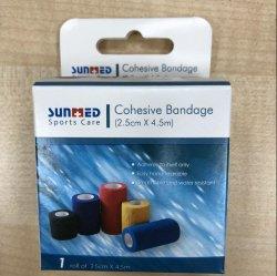 Sport médical coloré autocollant Bandage cohésif sans latex