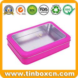 Ventana personalizada Popular Metal Box Caja de lata de caramelos de rectángulo con PVC transparente la parte superior de regalos