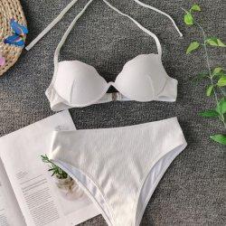 2020 Новый купальник Высокая поясная твердых купальный костюм женщин в Бразилии пляжную линии бикини