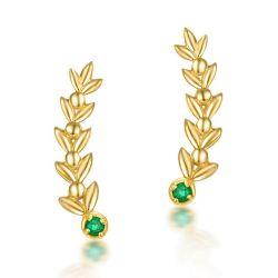 Hoge kwaliteit natuurlijk Groen Edelsteen bladeren Goud Oorbellen Vrouwen 14kt Stevige gouden oorbellen