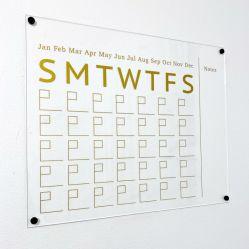 De muur Opgezette Gouden Kalender van de Transparantie van de Druk Hoge Duidelijke Acryl