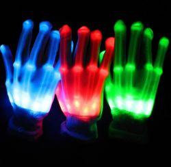 Светодиод горит скелет перчатки, дешевые LED перчатки Хэллоуин Группа пользовательский индикатор мигает перчатки
