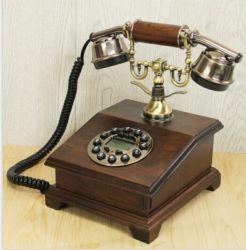 CID가 있는 목재 골동품 전화