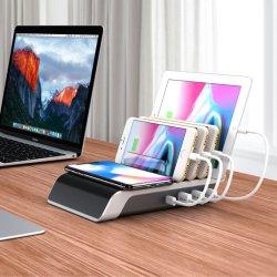 Быстрое беспроводное зарядное устройство с 4 USB зарядное устройство для настольных ПК для смартфонов