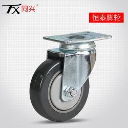 Draaibaar zwenkwiel van 3 inch polyurethaan (grijs)