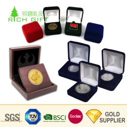 China Manufacturer Custom Colorful Medals Coin Jewelry Display Packing Gift Storage Velvet Box