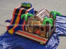 Qualitäts-aufblasbares Insel-Piraten-Haus mit Plättchen-aufblasbarem kombiniertem Schloss für das Kind-Spiel im Freien