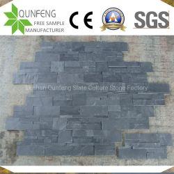 Muro di sostegno impilato nero naturale dell'ardesia di pietra del rivestimento della Cina