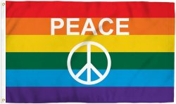 Rainbow signe de paix Lgbtq pied 3X5+ fierté Drapeau - Bold de couleurs vives, résistant aux UV, Oeillets en laiton doré, durables 75 denier Polyester, coutures Mighty-Locked