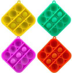 Pop Simple Fidget hoyuelo Toy, Mini-Push Pop con llavero, plástico de burbujas de juguetes de silicona sensorial, el autismo Necesidades Especiales el estrés táctiles calmante para el juego de lógica