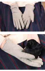 女性の冬の手袋、羊毛はウールの乗馬の方法暖かいスクリーンの接触手袋2を厚くした