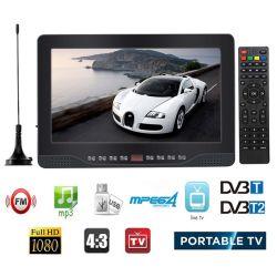 10.2インチ1080P PVR 12V携帯用DVB-T/DVB-T2 TFT LED HD TVのテレビのデジタルアナログAC/DC