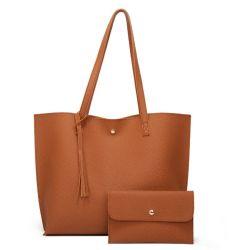 Amazon Hot Seller Dames Big Capacity Soft Plain PU Leather Tote-tas met polsbandje